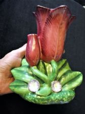 UNUSUAL MAJOLICA DOUBLE LILY FLOWER VASE ON LEAF BASE & RAISED CHINA FLOWERS